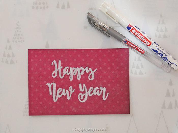 Cartes de voeux handlettering-Une carte Happy New Year