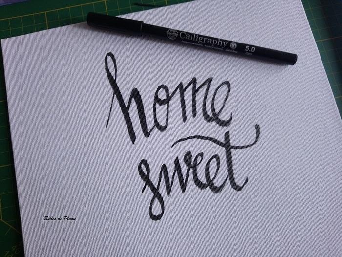 """Tableau calligraphie """"Home Sweet Home""""-Réalisation du cadre"""