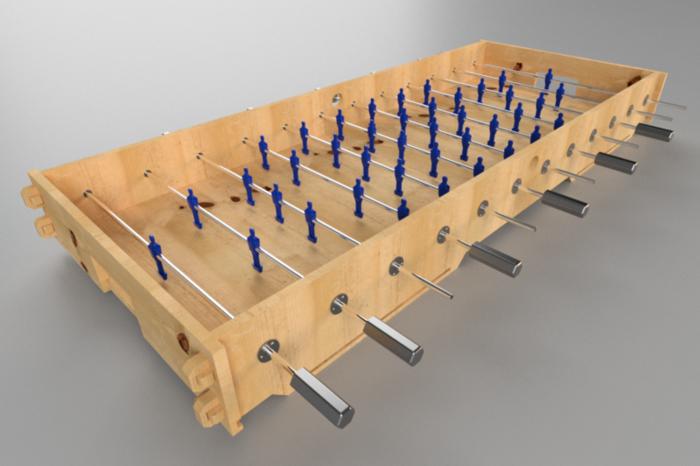 Babyfoot 6 personnes-Assemblage : fixer les joueurs aux barres et les buts au chassis