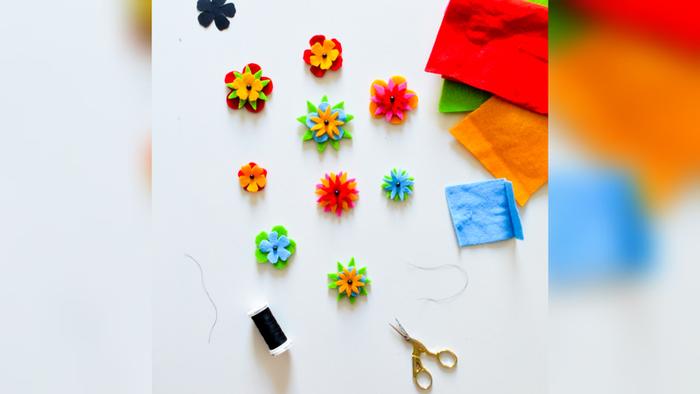 Customiser un pull de printemps-Créer les fleurs en feutrine