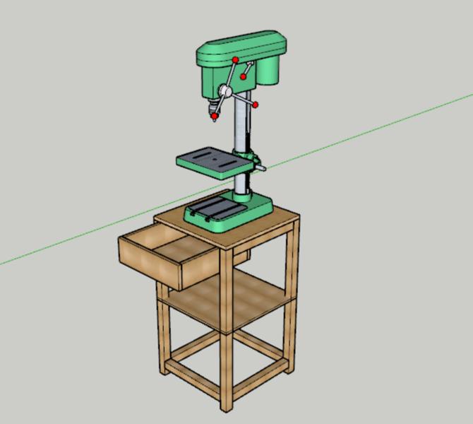 Un établi tout simple pour perçeuse à colonne-Découpe du bois