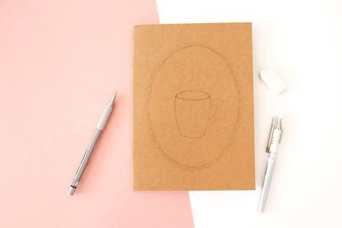 """3 manières de customiser un carnet kraft-Pour le carnet """"Mug"""""""