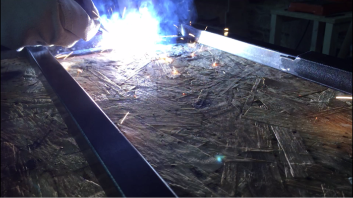 Console d'entrée bois et métal-Assemblage du métal