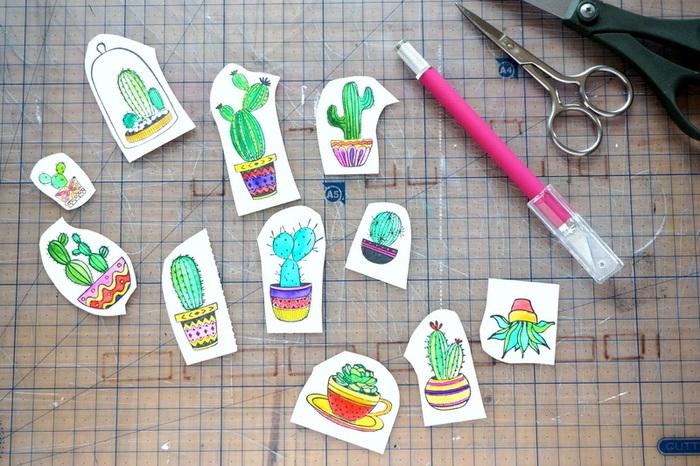 """Carte pop-up """"mini-serre à cactus""""-Les cactus colorés"""