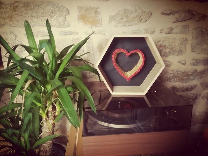 """Tutoriel DIY """"Le coeur allumette""""-""""Insertion finale dans le cadre en bois"""""""