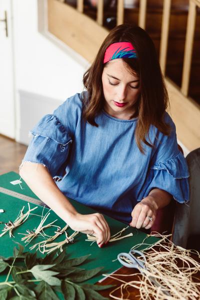 Boucles d'oreilles Frida Khalo-Etape 1 : Les franges en raphia