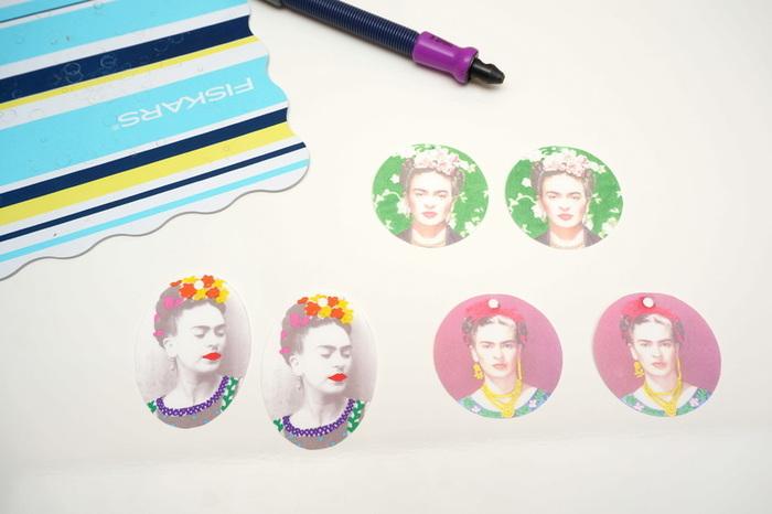 Boucles d'oreilles Frida en plastique fou imprimable-Cuire/Réduire