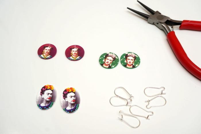 Boucles d'oreilles Frida en plastique fou imprimable-Monter