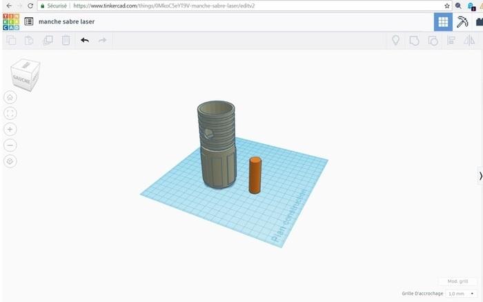Epée pour enfant en mousse-La modélisation des manches en 3D