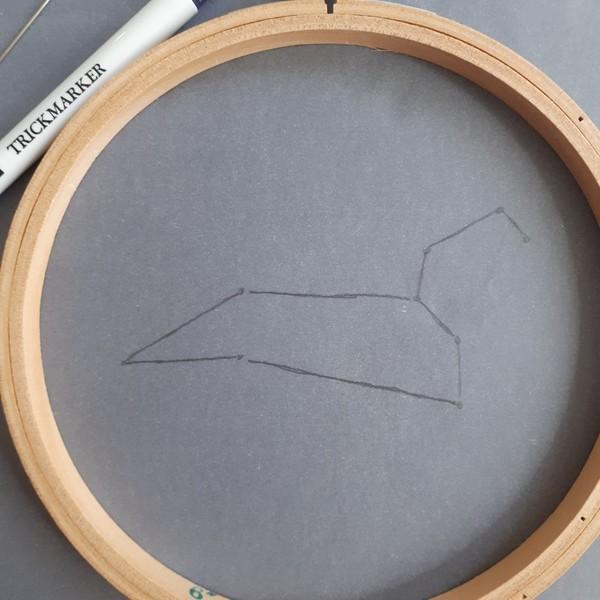 Broderie constellation étoilée-Préparation de la constellation