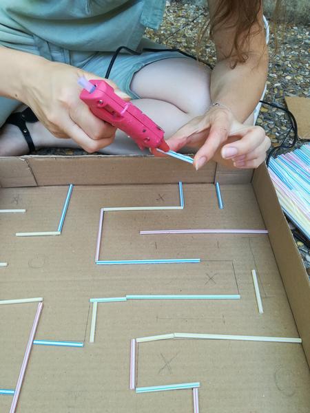 Jeu Pac Man version labyrinthe géant-La création du labyrinthe