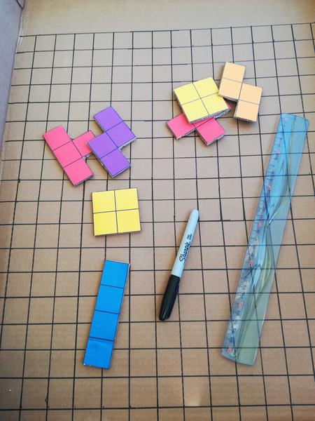 Tetris géant en carton-La préparation des pièces
