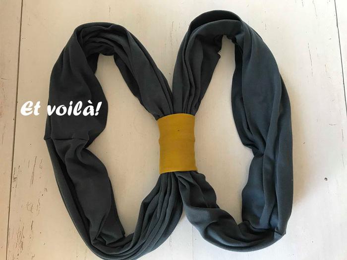 Echarpe de portage facile-Insérez dans le tube les pans de tissus et coudre
