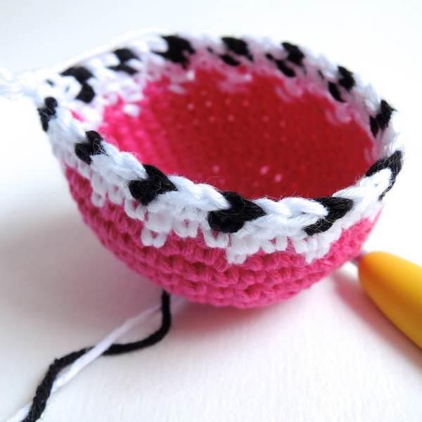 Mini cache-pot crocheté-Le jacquard