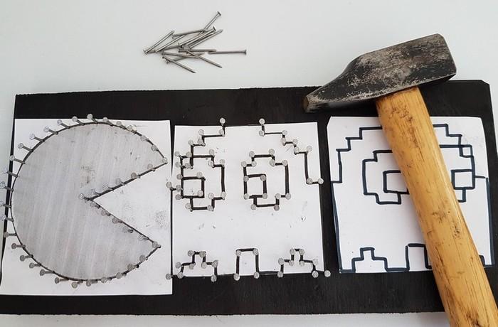 Cadre Pac-man en fil tendu (string art)-Etape 2: Tracer les repères et plantez les clous