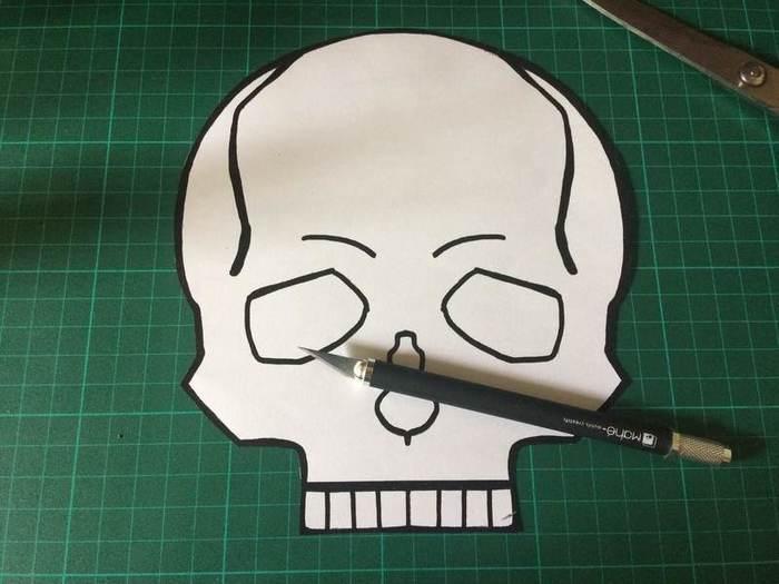 Carnet Crâne et reliure japonaise-1. Réalisation du patron