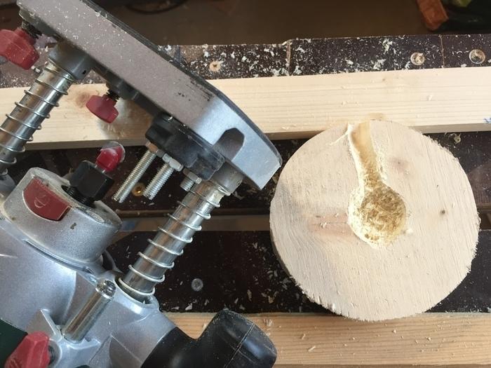 Une lampe en .... écorce de palmier-Préparer le socle