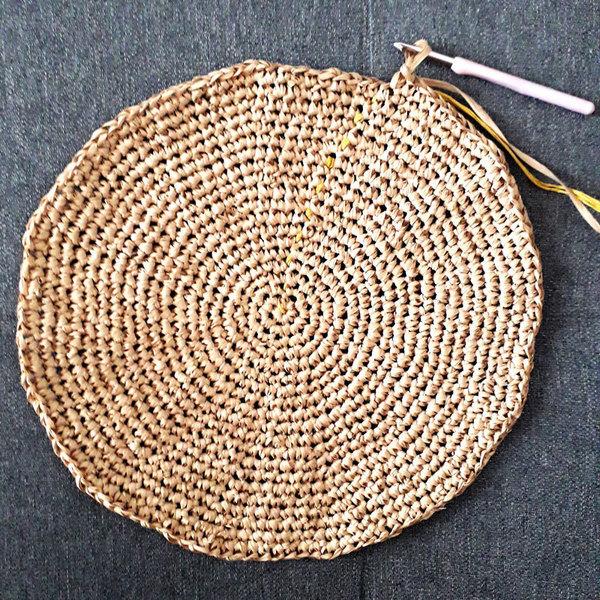 Panier rond aztèque-Crocheter le rond