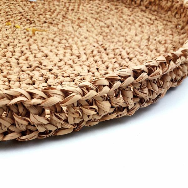 Panier rond aztèque-Continuer avec le bord et la anse
