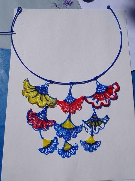 """Mon collier """"Wax-Papyrus"""" au stylo 3D-Positionnement et fixation des motifs"""