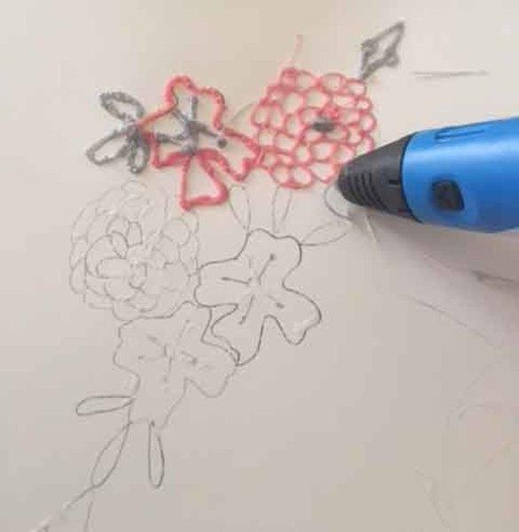"""Collier """"La vie en rose"""" (au stylo 3D)-Le report de votre motif"""