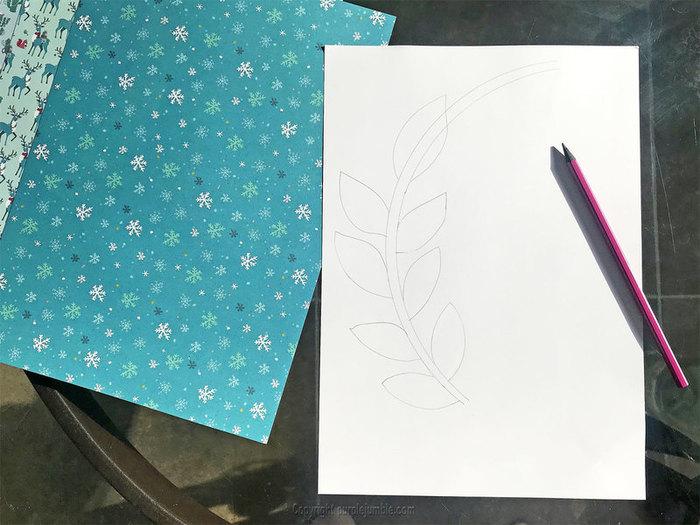 Une couronne de Noël nature et papier-Fabriquer les feuillages en papier