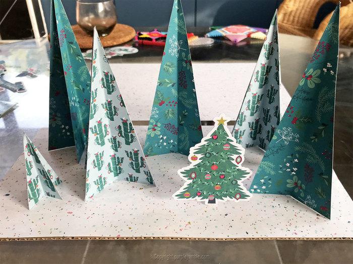 Décor de Noël en papier-Disposer et coller les éléments