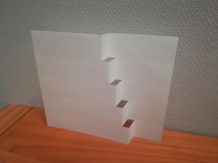 Carte de voeux en escaliers-La base de la carte