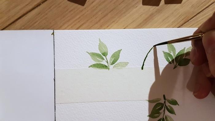 Carte de Voeux à l'aquarelle-Peindre des feuilles