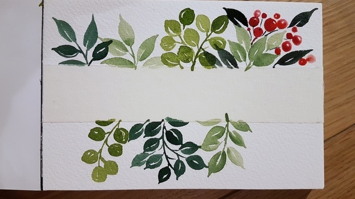 Carte de Voeux à l'aquarelle-Ajouter quelques baies