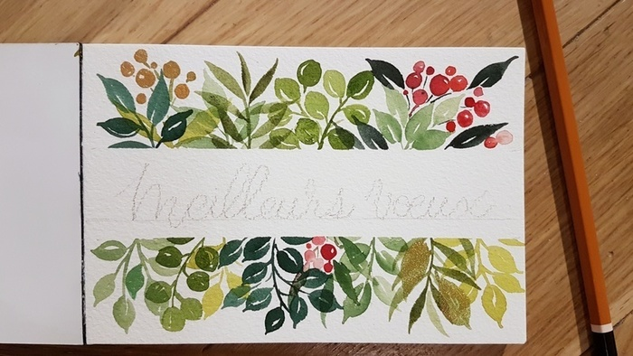 Carte de Voeux à l'aquarelle-Ecrire un joli message