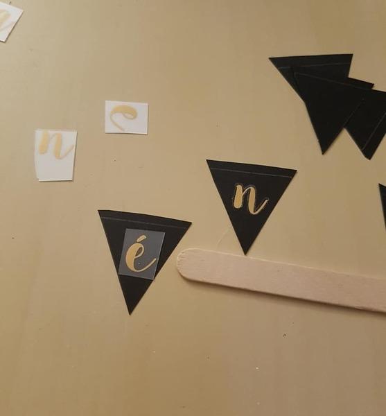 Carte de vœux or et noir-Faire une guirlande de fanions