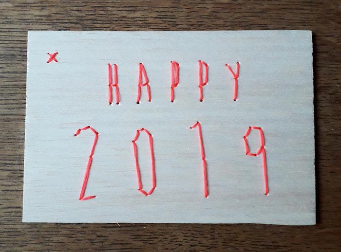 Carte de voeux en balsa brodé-Pour une année qui brille...
