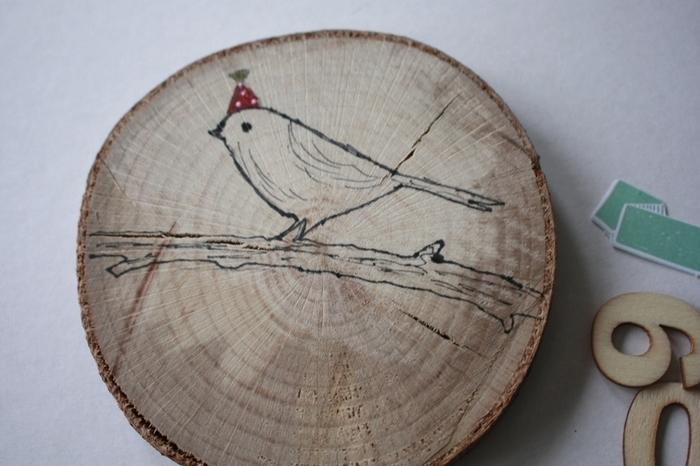"""Des voeux  nature, """"écolo"""" -Dessiner sur le support en bois"""