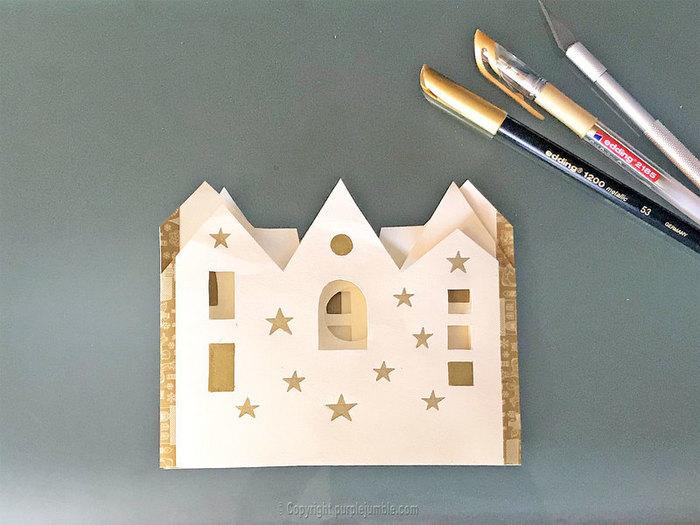 Carte de vœux à déplier-Ajouter des étoiles dorées