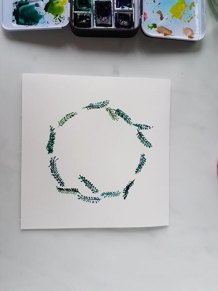 Carte de voeux facile à l'aquarelle ou à la gouache-Etape 3 : réalisation de la couronne