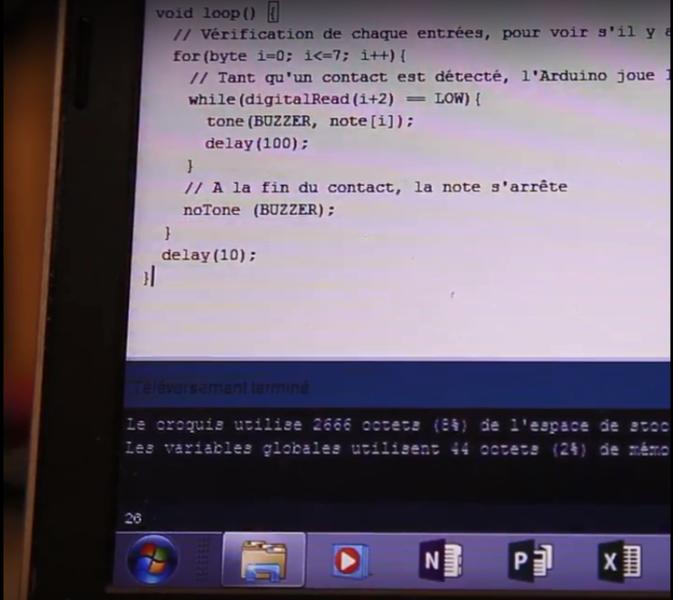 Fabriquez votre piano clémentine-Programmation de l'Arduino