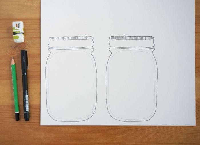 """Carte """"shaker box"""" - bocal au décor hivernal-La structure du bocal"""