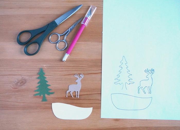 """Carte """"shaker box"""" - bocal au décor hivernal-Le décor hivernal"""