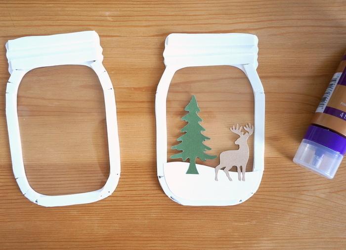 """Carte """"shaker box"""" - bocal au décor hivernal-Le montage"""