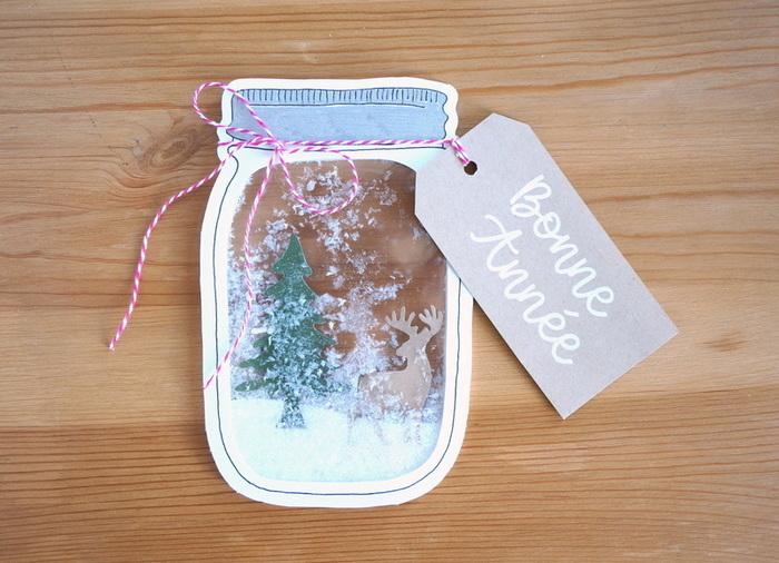 """Carte """"shaker box"""" - bocal au décor hivernal-L'étiquette"""