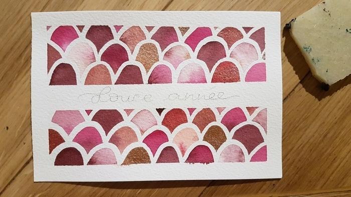Une carte de vœux à écailles -Écrire une jolie phrase