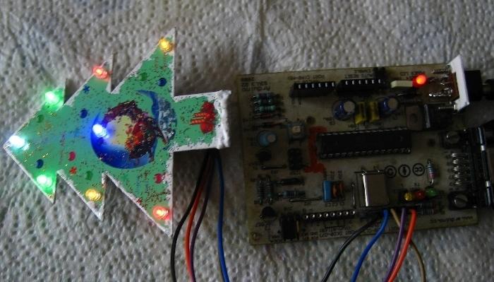 Sapin de Noël animation 8 LED- programmation et branchement