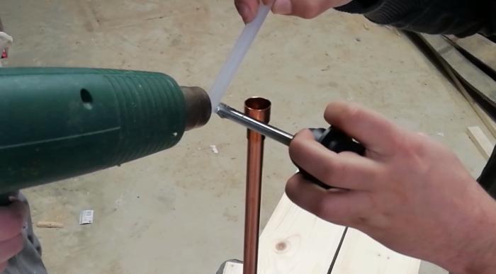 Une lampe style indus en bois et cuivre-Préparation du reste de la structure