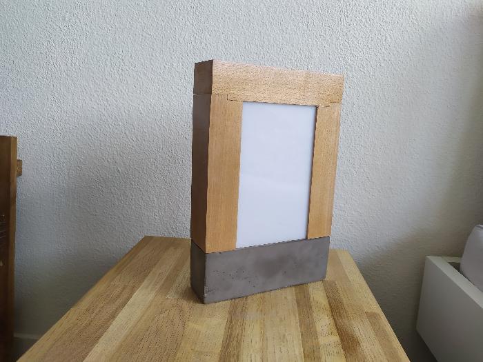 Lampe bois et béton-Finition et assemblage