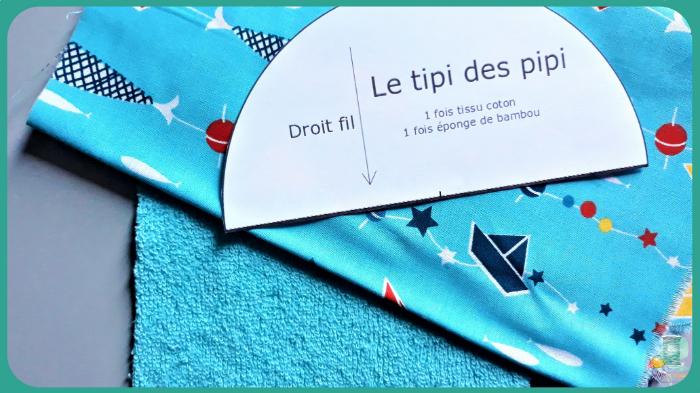 Le Tipi des pipi-Toujours à l'aide de se gabarit, couper 1 fois dans votre tissu coton à motifs (attention à votre sens des motifs) et une fois dans votre éponge.