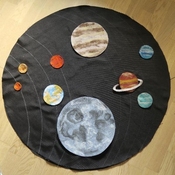 Allo la terre, ici la lune ! alias le tapis de jeu du système solaire-La construction du système solaire
