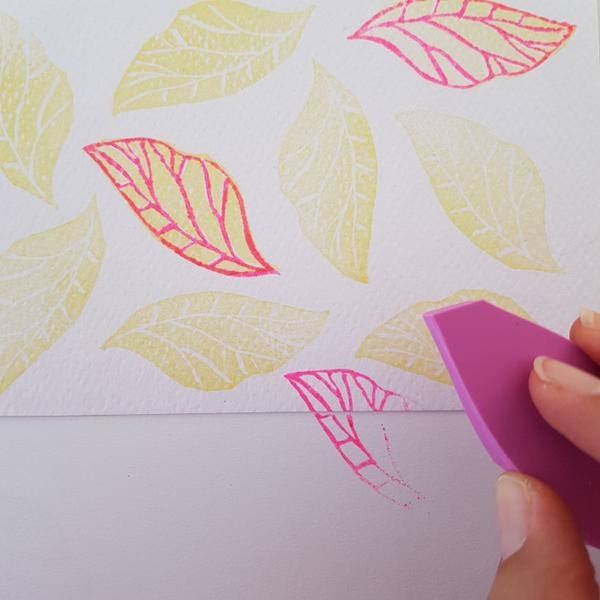 Graver un tampon Feuille de thé (2ème façon)-6. Créer avec son/ses tampon(s)