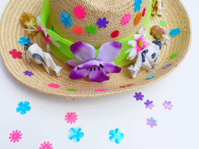 Le chapeau Made in Normandie-Collez les sequins en forme de fleur