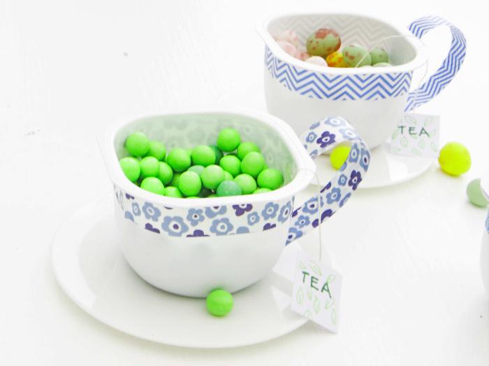 Ma tasse de thé upcycling pour une Tea Party-Remplir de bonbons